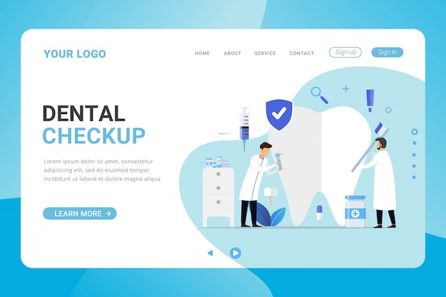 Landingspagina sjabloon tandheelkundige zorg kliniek ontwerpconcept