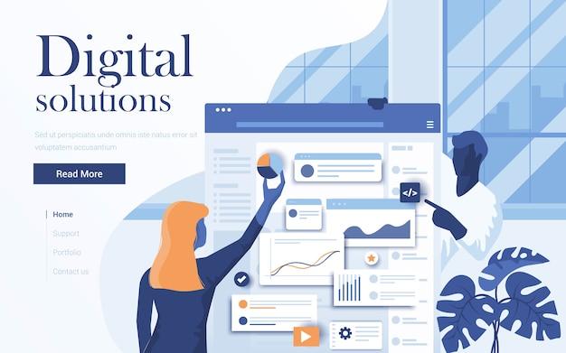 Landingspagina sjabloon van digitale oplossingen. team van jonge mensen die in werkruimte samenwerken. modern van webpagina voor website en mobiele website. illustratie