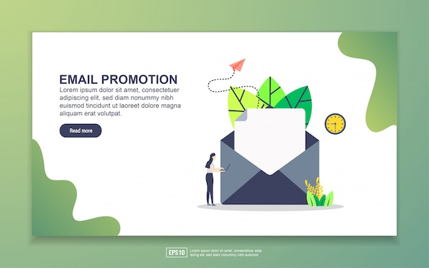 Landingspagina sjabloon van e-mailpromotie. modern plat ontwerpconcept webpaginaontwerp voor website en mobiele website.