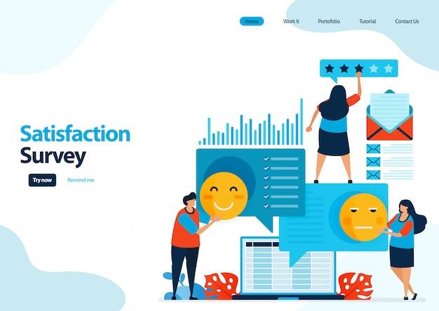 Landingspagina sjabloon van emoticon tevredenheidsenquêtes. feedbackscore en sterren voor apps-services.