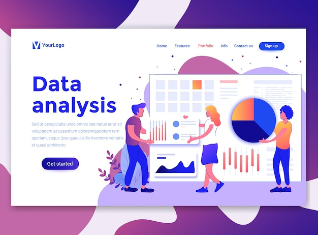 Landingspagina sjabloon van gegevensanalyse