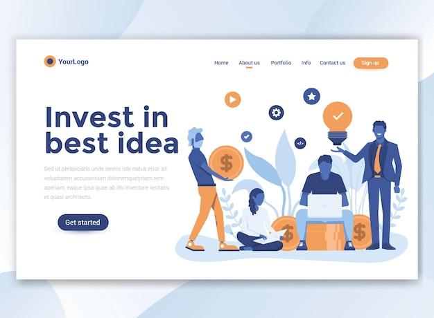 Landingspagina sjabloon van investeren in beste idee. modern plat ontwerp voor website