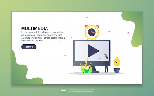 Landingspagina sjabloon van multimedia. modern plat ontwerpconcept webpaginaontwerp voor website en mobiele website.