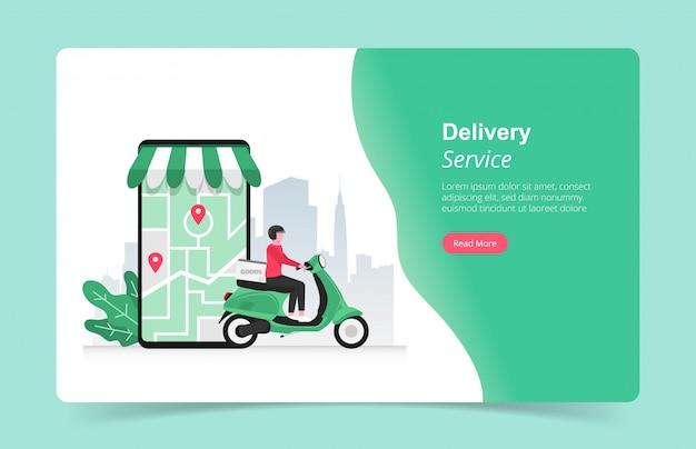 Landingspagina sjabloon van online snelle bezorgdiensten concept met koerier en zijn scooter illustratie.