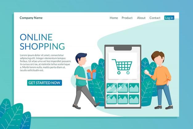 Landingspagina sjabloon van online winkelen