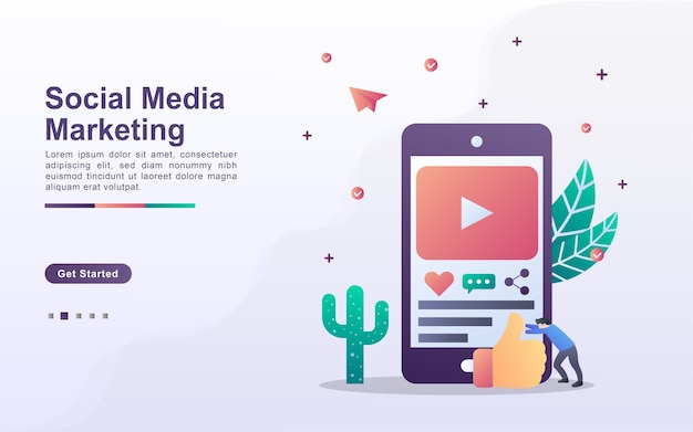 Landingspagina sjabloon van sociale media marketing