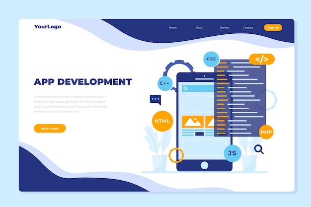 Landingspagina-sjabloon voor app-ontwikkeling met telefoon
