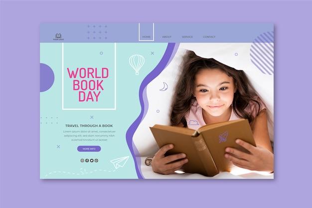 Landingspagina-sjabloon voor de viering van de wereldboekdag