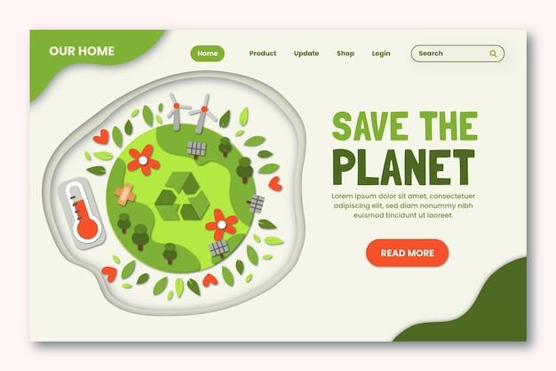 Landingspagina-sjabloon voor klimaatverandering in papierstijl