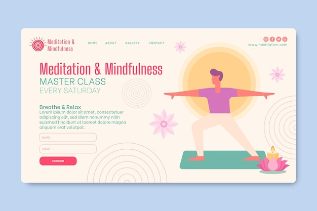 Landingspagina-sjabloon voor meditatie en mindfulness