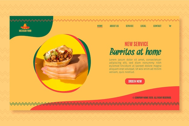 Landingspagina sjabloon voor mexicaans eten restaurant