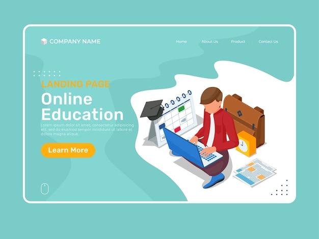 Landingspagina-sjabloon voor online onderwijs met isometrisch karakter dat op laptop studeert.