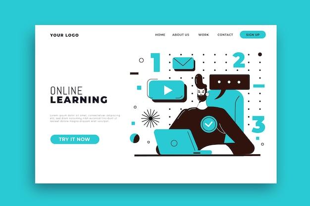 Landingspagina-sjabloon voor plat lineair online leren