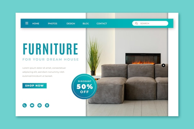 Landingspagina sjabloon voor verkoop van meubels met kleurovergang