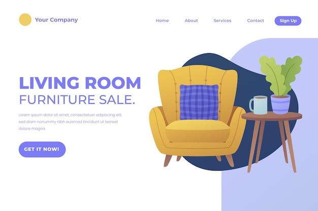Landingspagina sjabloon voor verkoop van meubels