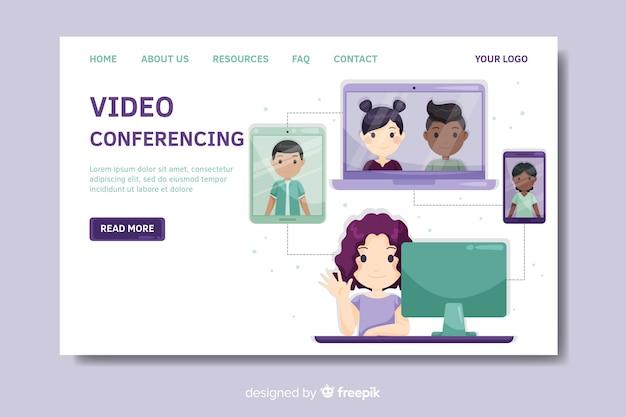 Landingspagina-sjabloon voor videoconferenties