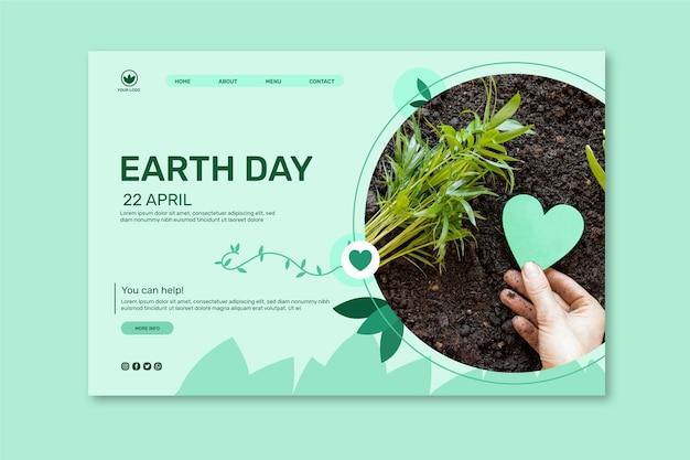 Landingspagina sjabloon voor viering van de dag van de moeder aarde