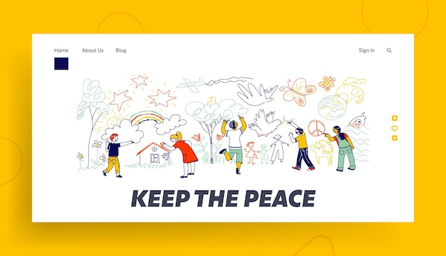 Landingspagina sjabloon voor vrede of internationale kinderdag.
