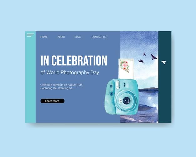 Landingspagina sjabloon voor wereldfotografie dag