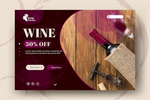 Landingspagina sjabloon voor wijnproeven