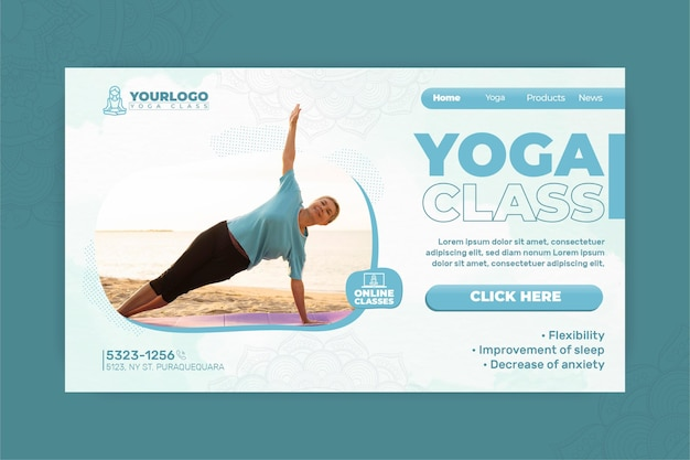 Landingspagina-sjabloon voor yogapraktijk met oudere vrouw