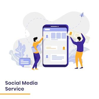 Landingspagina social media service illustratie