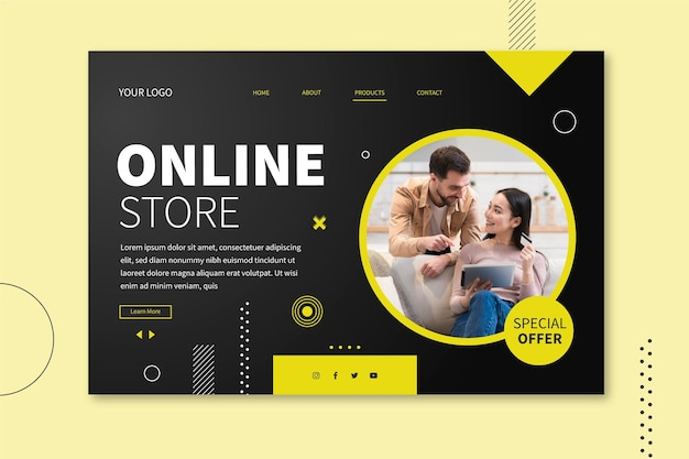 Landingspagina-stijl voor online winkelen