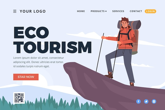Landingspagina-thema voor ecotoerisme