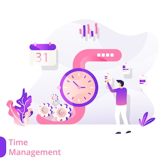 Landingspagina time management vector illustratie modern concept