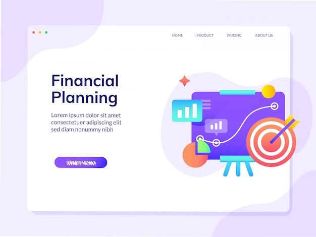 Landingspagina van de financiële planningswebsite vector de illustratiemalplaatje