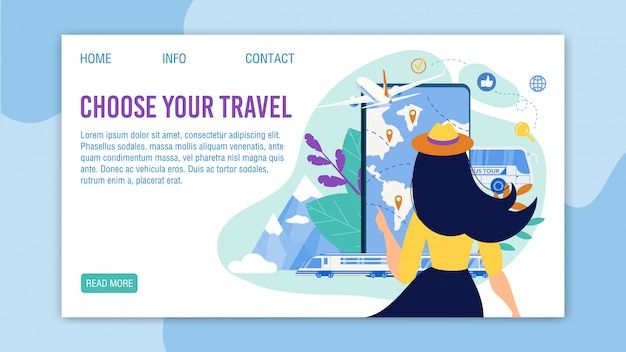 Landingspagina van de travel app met selectietourmenu