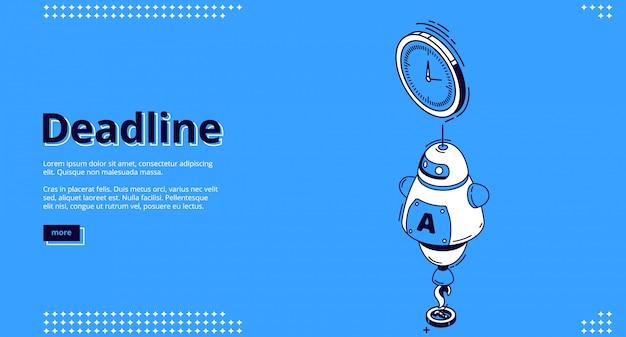 Landingspagina van deadline met chatbot en klok