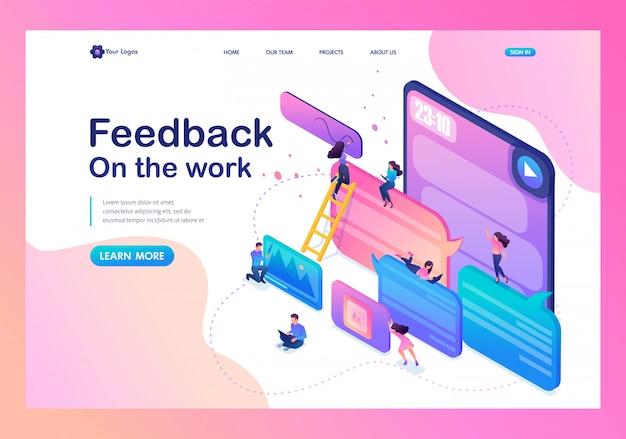 Landingspagina van gebruikers schrijven opmerkingen, terugroepen en feedback over services