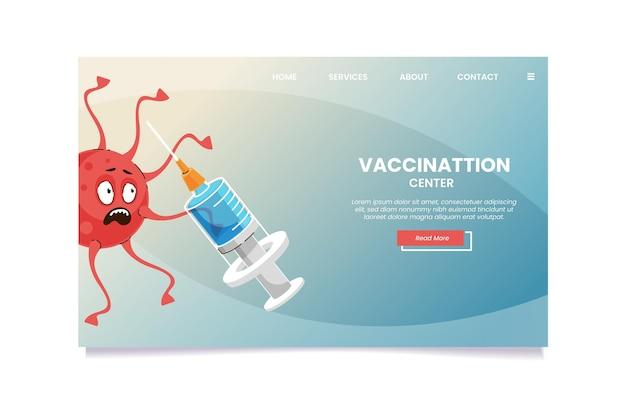 Landingspagina van het cartoon coronavirusvaccin