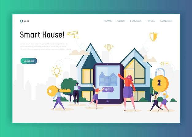 Landingspagina van het huisautomatiseringssysteem. slimme huisbediening verlichting, klimaat, entertainmentsysteem en apparaten en beveiliging. toegang tot de camerawebsite of webpagina. platte cartoon vectorillustratie