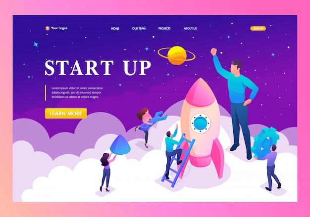 Landingspagina van het opstarten van een nieuw bedrijf door jonge ondernemers