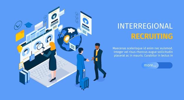 Landingspagina van interregionaal wervingsprogramma met staande op laptopagent die kandidaten isometrisch zoekt