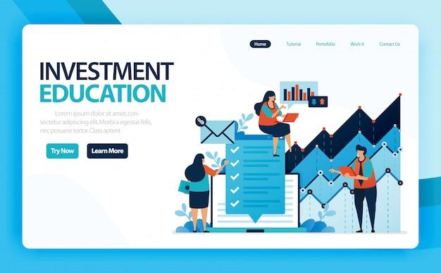 Landingspagina van investeringseducatie en aandelenmarkt met strategie, analyse, planning