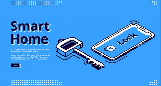 Landingspagina van smart home key, mobiele telefoonpictogram