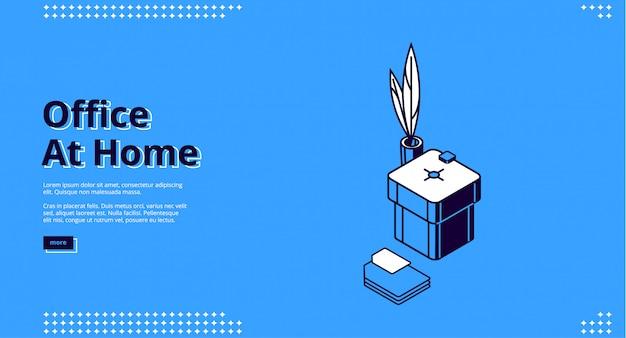 Landingspagina van thuiskantoor voor freelance