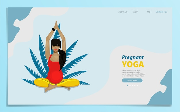 Landingspagina van zwanger meisje in lotushouding. illustratie in vlakke stijl.
