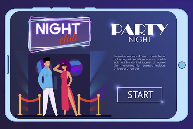Landingspagina voor advertising night party in club