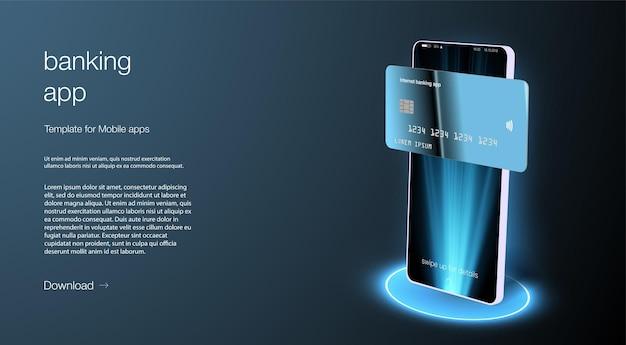 Landingspagina voor app voor online bankieren. slim portemonnee-concept met creditcard, betaalpas. gadget van de toekomst, smartphone tech betaling. platte isometrische vectorillustratie. e-betalingsscherm