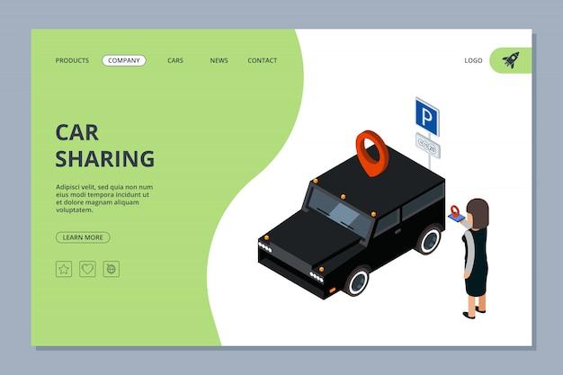 Landingspagina voor autodelen. vrouw vindt auto met mobiel app isometrisch concept