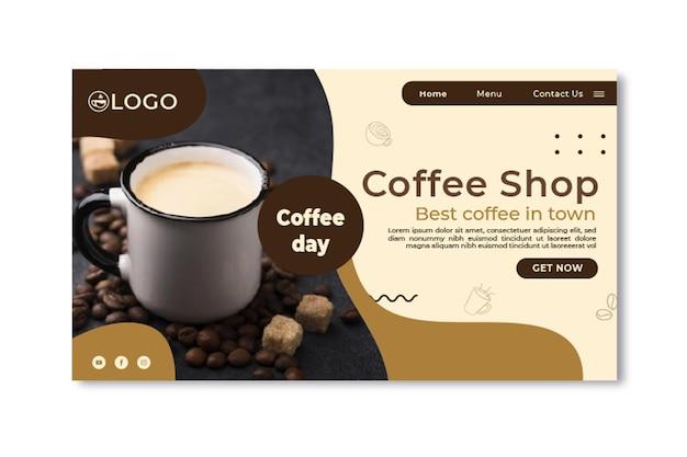 Landingspagina voor coffeeshop Gratis Vector