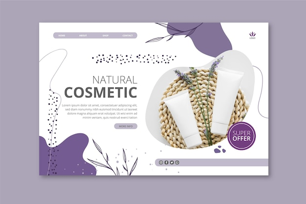 Landingspagina voor cosmetische producten met lavendel
