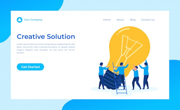 Landingspagina voor creatieve oplossingen voor teamwerk