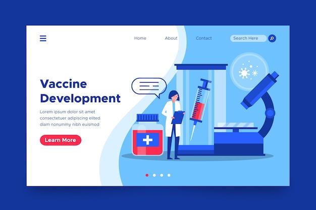 Landingspagina voor de ontwikkeling van het coronavirusvaccin
