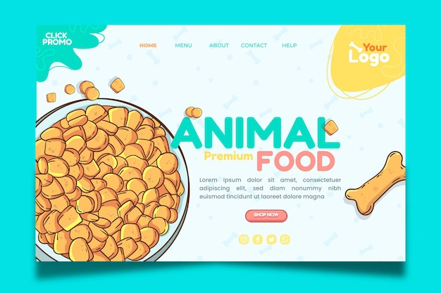 Landingspagina voor dierlijk voedsel
