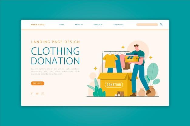 Landingspagina voor donatie van platte kleding Gratis Vector